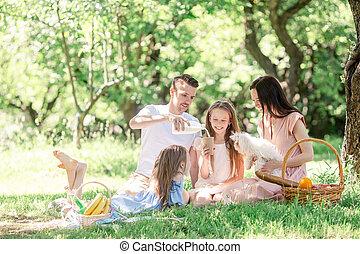 pique-nique, famille, ensoleillé, parc, jour, heureux