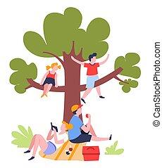 pique-nique famille, sous, arbre, extérieur, été, activité