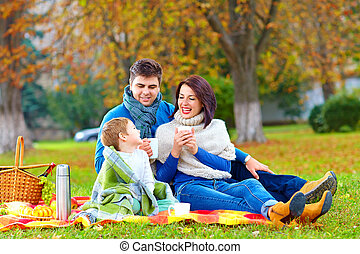 pique-nique, famille, thé, automne, chaud, boire, heureux