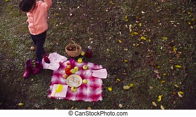 pique-nique, jardin, elle, obtenir, finished., haut, bottes...