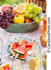 pique-nique, sain, couverture, fruit tropical, frais