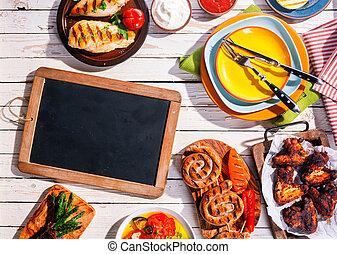 pique-nique, tableau, vide, grillé, table, repas