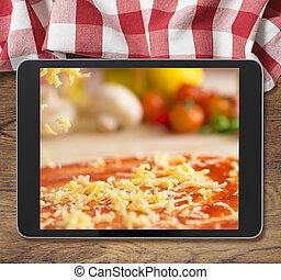 pique-nique, tablette, bois, affiché, pc, noir, table, nappe, pizza
