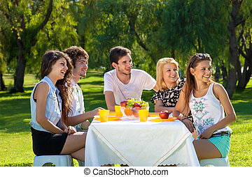 piquenique, amigos, grupo, jovem, tendo