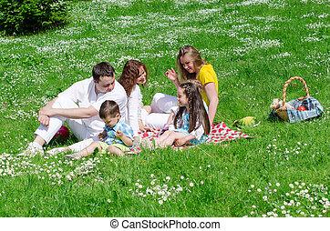 piquenique, companhia, crianças, divertimento, amigos, tendo