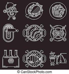 piquenique, linha, vetorial, branca, ícones