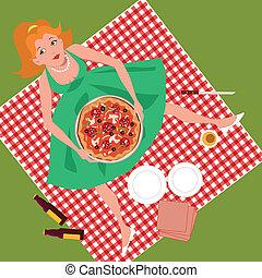 piquenique, pizza