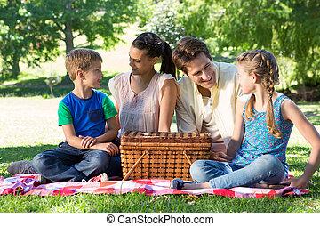 piquenique, tendo, família, feliz