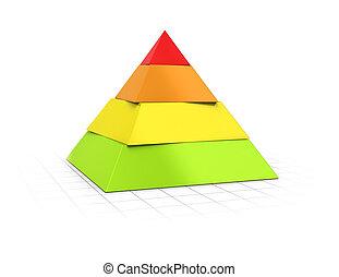 pirámide, acodado, cuatro, niveles