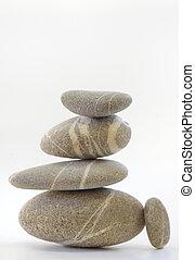 pirámide, aislado, piedras