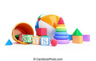 pirámide, alfabeto, juguetes, cubo, pelota, playa