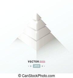 pirámide, color del negocio, infographic, blanco, 3d