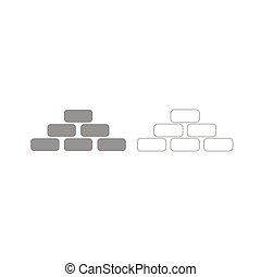 pirámide, Conjunto, gris, icono