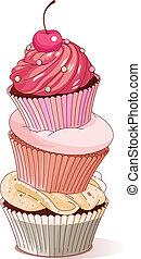 pirámide, cupcakes