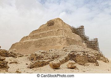 pirámide, egipto, el cairo, paso, necropolis, saqqara