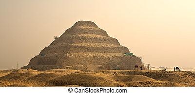 pirámide, Egipto, famoso,  djoser, paso, señal