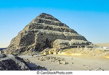 pirámide, egypt., saqqara, djoser, unesco, mundo, necropolis