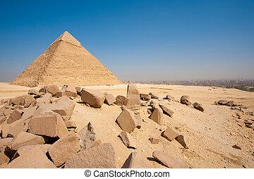 pirámide, el cairo, cantos rodados, cityscape, horizontal, khafre