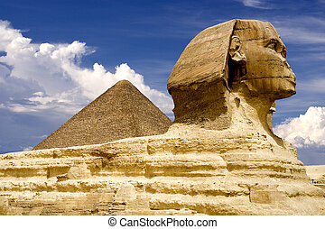 pirámide, esfinge, egipcio