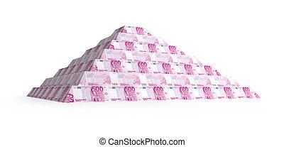 pirámide, financiero, render, aislado, 500?, blanco, 3d