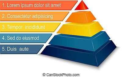 pirámide, gráfico, infographics