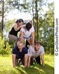 pirámide, herboso, compañeros de trabajo, campo, humano, elaboración, feliz