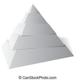 pirámide, ilustración, vector, niveles, cinco, 3d
