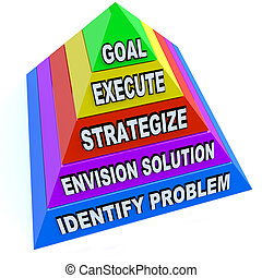 pirámide, meta, éxito, crear, -, plan, lograr