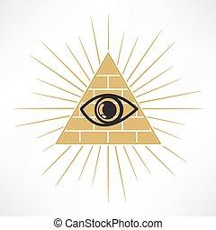 pirámide, ojo