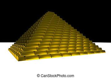 pirámide, oro, lingotes