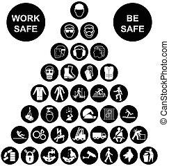 pirámide, salud y seguridad, icono, coll