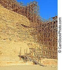 pirámide,  Saqqara, andamio,  djoser