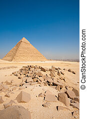 pirámide, vertical, el cairo, cantos rodados, cityscape, khafre