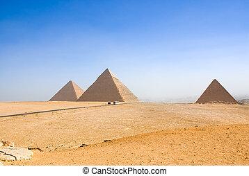 pirámides de giza, en, el cairo, egipto