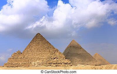 pirámides, panorama, grande, giza., localizado