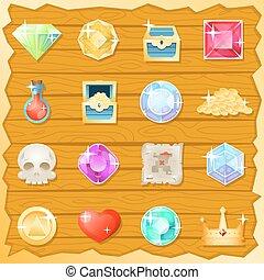 pirát, hra, klenot, zlatý, lebka, trasure, hruď, nápoj, nitro, cenit si, ikona, dát, za, proměnlivý, karikatura, design, vektor, ilustrace