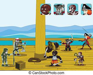 pirát, hra, pojem, vektor