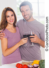 pirítós, bor, látszó, fényképezőgép, pohár, szerelmes pár