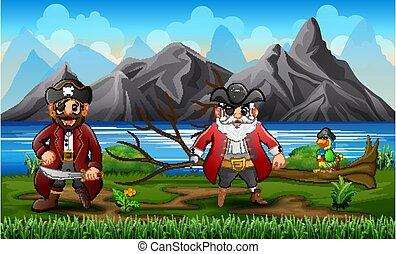 piraci, papuga, rzeka