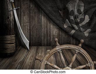 piraci, statek, kierownica, z, stary, wesoły roger, bandera,...