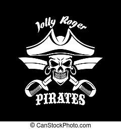 Piraci,  Symbol, Wesoły, Bandera, Wektor, czarnoskóry,  Roger