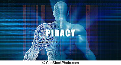 Piracy as a Futuristic Concept Abstract Background