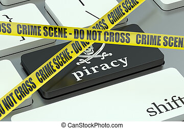 piracy concept, on the computer keyboard
