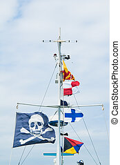 Piracy flag on a mast of the ship