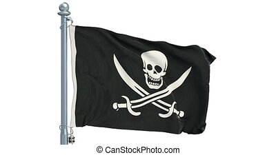 Piracy flag waving on white background, animation. 3D rendering