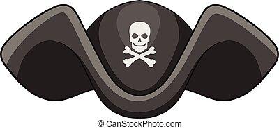 Piracy hat icon, cartoon style