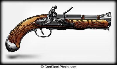 Piracy pistol - vector image of an ancient piracy pistol
