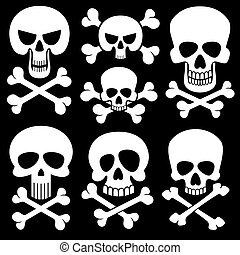 Piracy skull and crossbones vector icons. Death, scary symbols