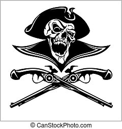 Piracy skull and crossed pistols - isolated on white