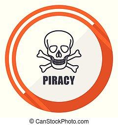 Piracy skull flat design orange round vector icon in eps 10